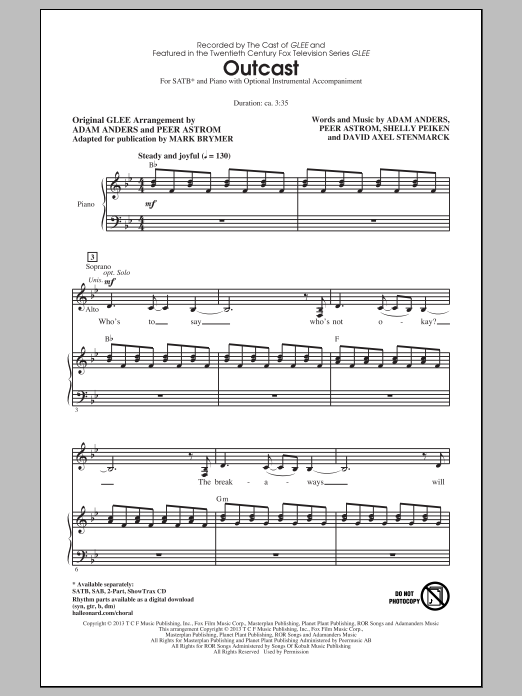 Partition chorale Outcast de Glee Cast - SATB