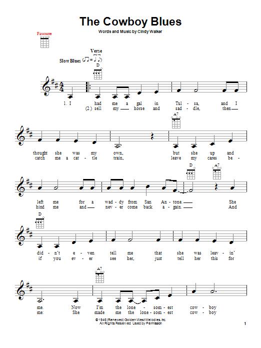 Tablature guitare The Cowboy Blues de Cindy Walker - Ukulele