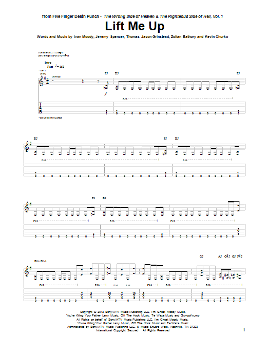 Tablature guitare Lift Me Up de Five Finger Death Punch - Tablature Guitare