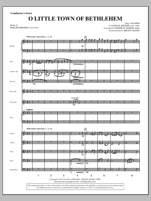 O Little Town Of Bethlehem (from A Symphony Of Carols) (COMPLETE) sheet music for orchestra/band by Joseph M. Martin