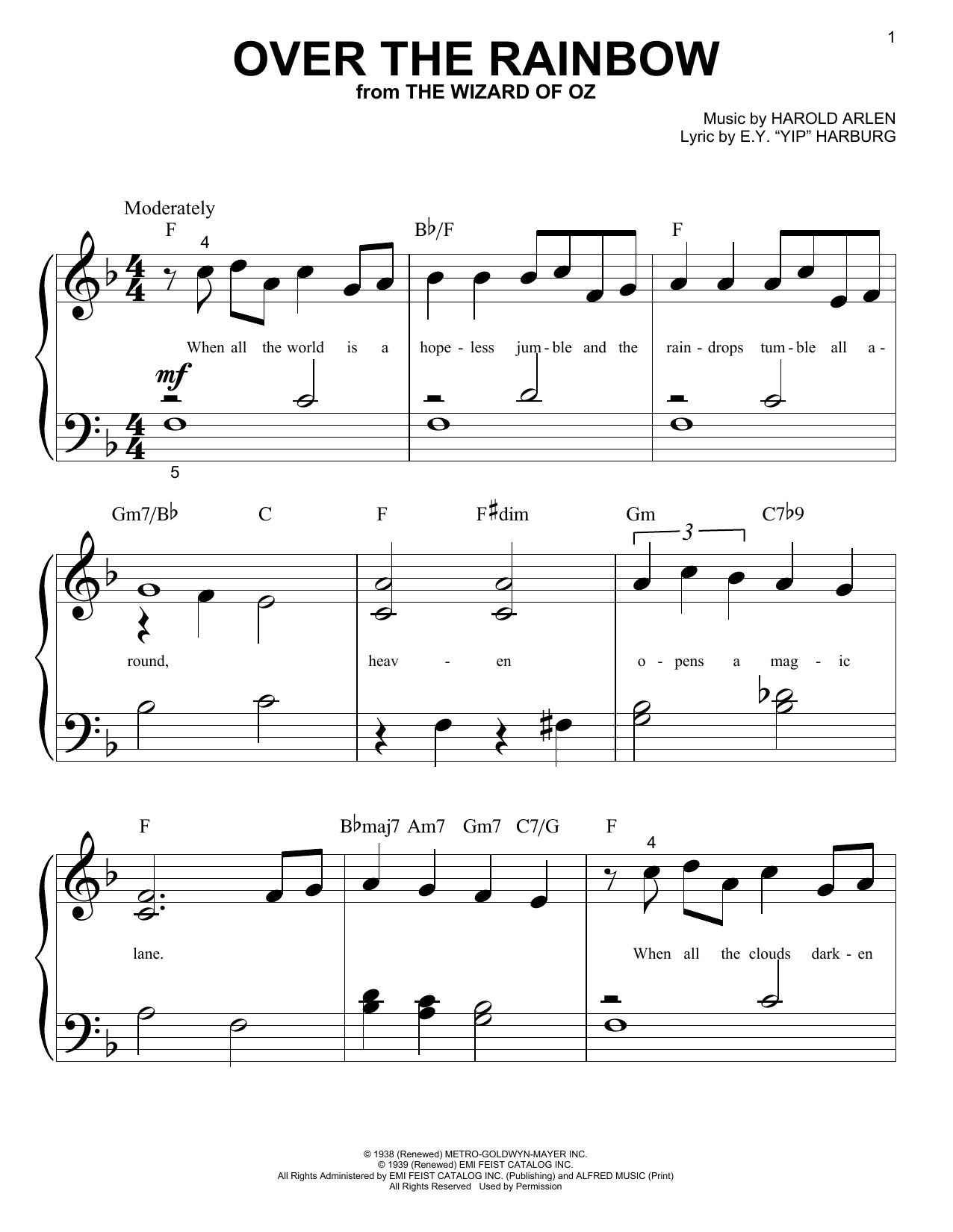 "Partition piano Over The Rainbow de E.Y. ""Yip"" Harburg - Piano Facile"