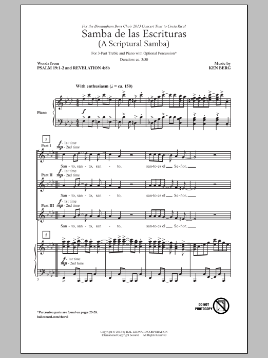 Partition chorale Samba De Las Escrituras de Ken Berg - 3 voix egales