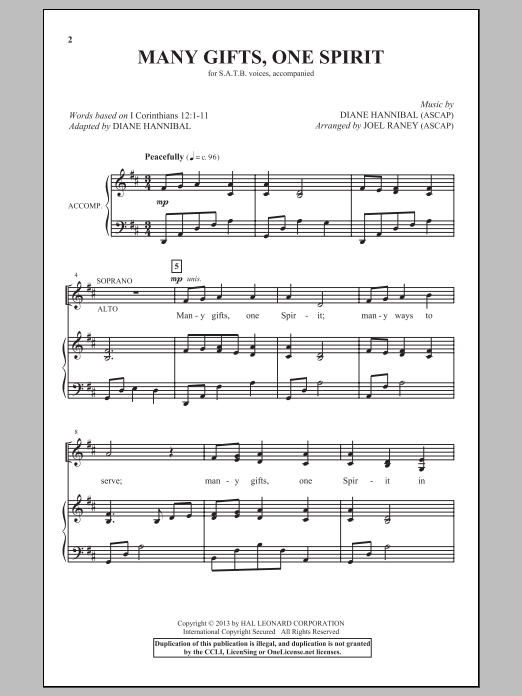 Partition chorale Many Gifts, One Spirit de Joel Raney - SATB