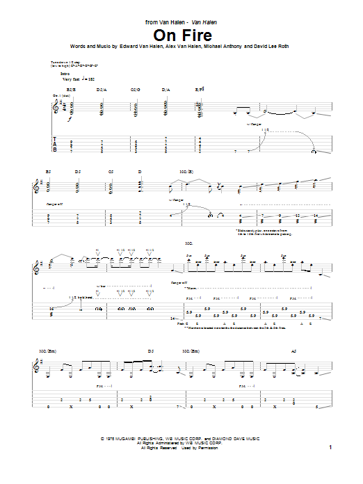 Tablature guitare On Fire de Van Halen - Tablature Guitare