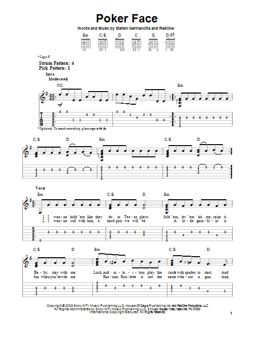 Tablature guitare Poker Face de Lady GaGa - Tablature guitare facile