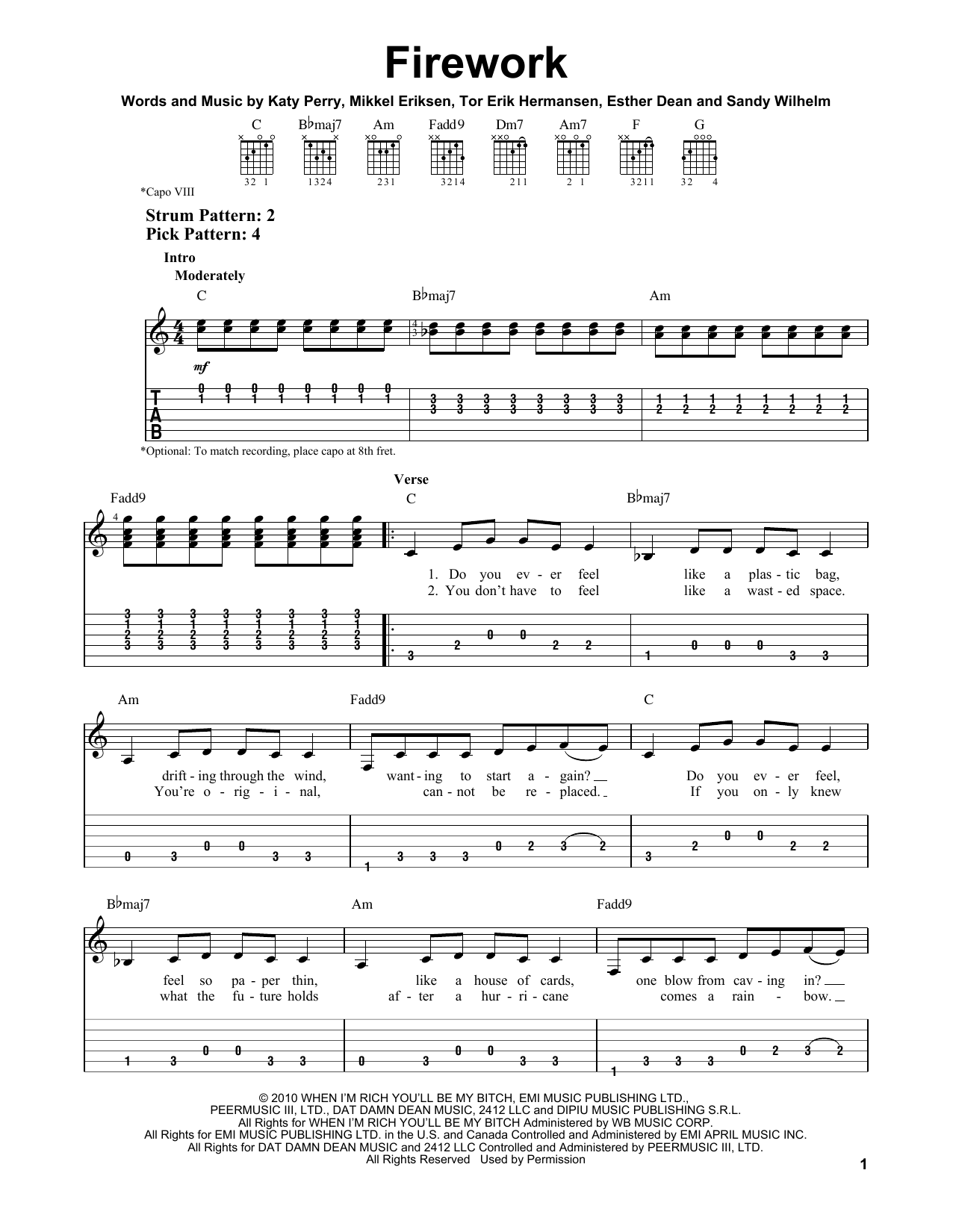Tablature guitare Firework de Katy Perry - Tablature guitare facile