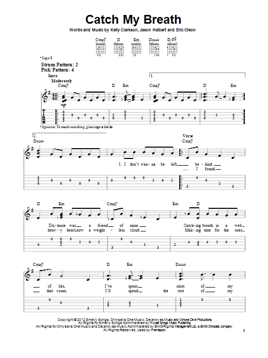 Tablature guitare Catch My Breath de Kelly Clarkson - Tablature guitare facile