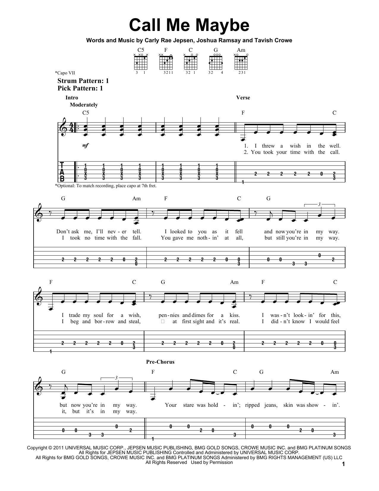 Call Me Maybe sheet music by Carly Rae Jepsen (Easy Guitar Tab u2013 150481)