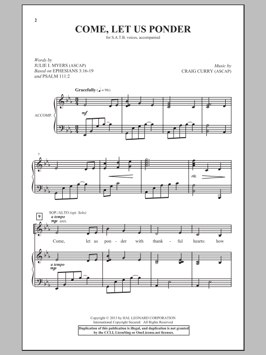 Partition chorale Come, Let Us Ponder de Craig Curry - SATB