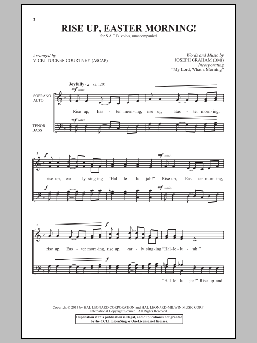 Partition chorale Rise Up, Easter Morning! de Vicki Tucker Courtney - SATB