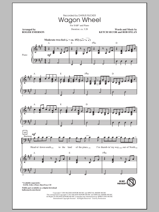 Violin wagon wheel violin tabs : Sheet Music Digital Files To Print - Licensed Darius Rucker ...