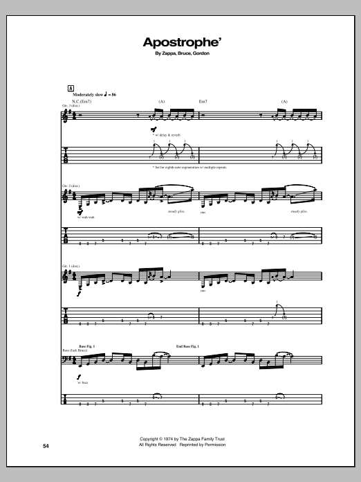 Apostrophe' sheet music for guitar solo (tablature) by Frank Zappa