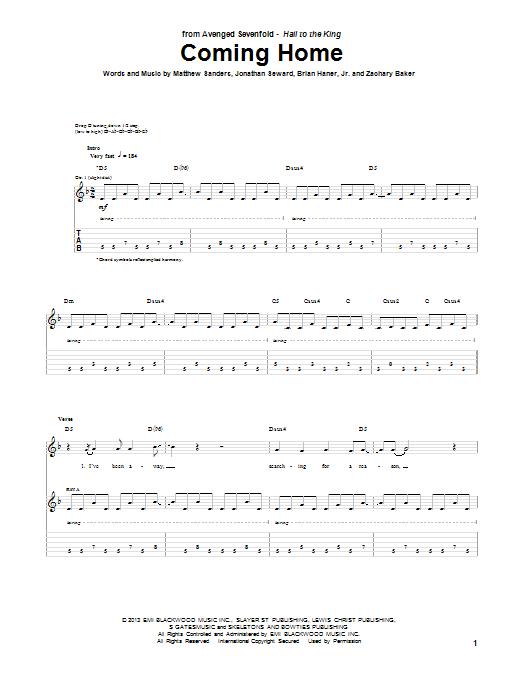 Tablature guitare Coming Home de Avenged Sevenfold - Tablature Guitare