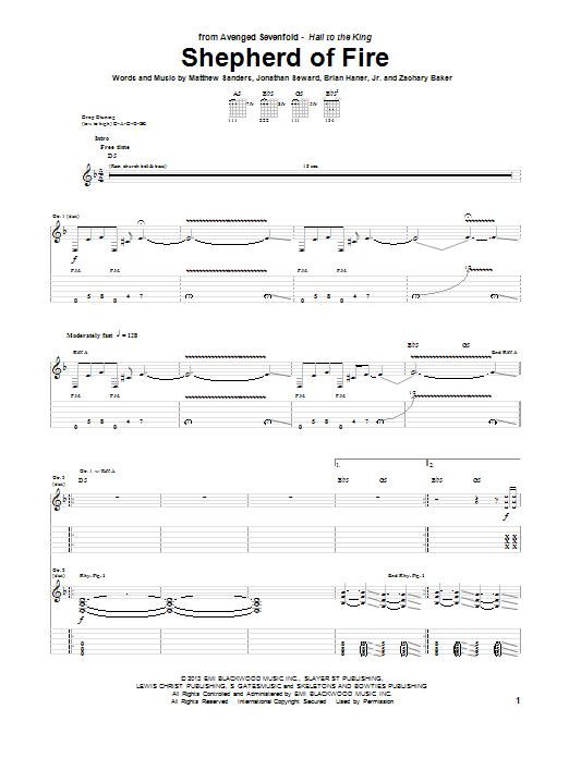 Tablature guitare Shepherd Of Fire de Avenged Sevenfold - Tablature Guitare