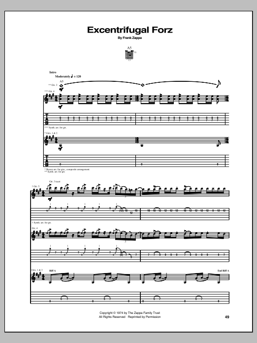 Excentrifugal Forz sheet music for guitar solo (tablature) by Frank Zappa