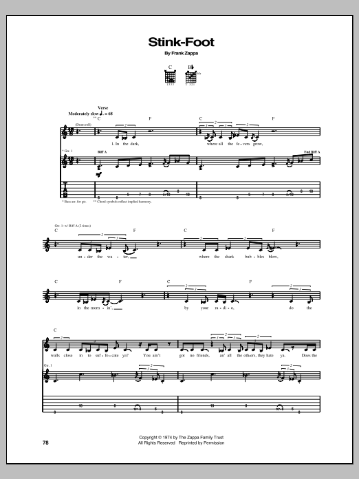 Stink-Foot sheet music for guitar solo (tablature) by Frank Zappa