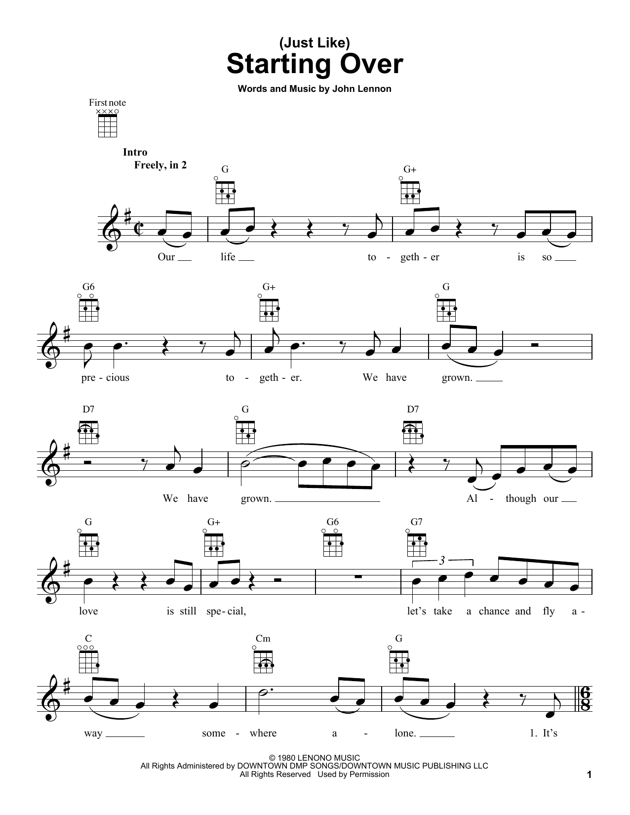 Tablature guitare (Just Like) Starting Over de John Lennon - Ukulele