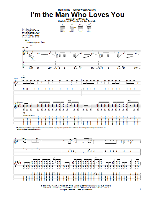 Tablature guitare I'm The Man Who Loves You de Wilco - Tablature Guitare