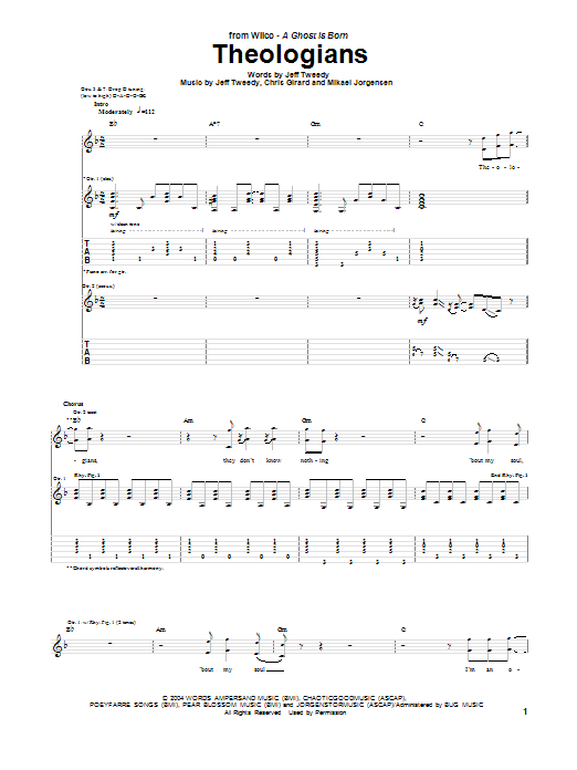 Tablature guitare Theologians de Wilco - Tablature Guitare
