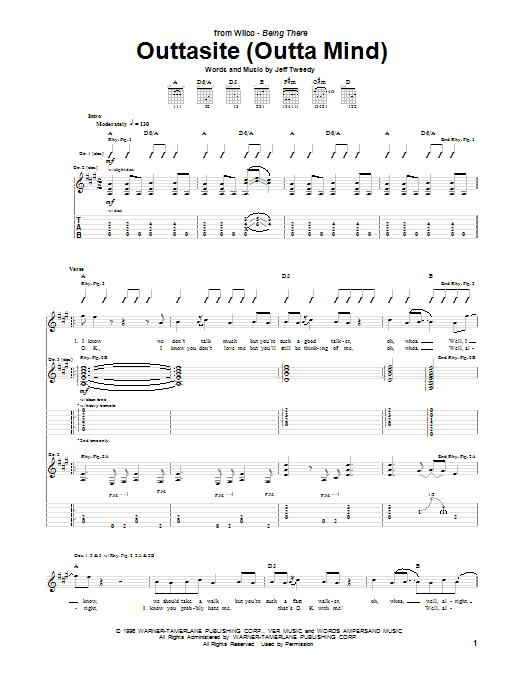 Tablature guitare Outtasite (Outta Mind) de Wilco - Tablature Guitare