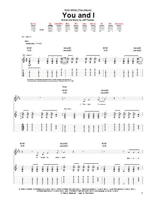 Tablature guitare You And I de Wilco - Tablature Guitare