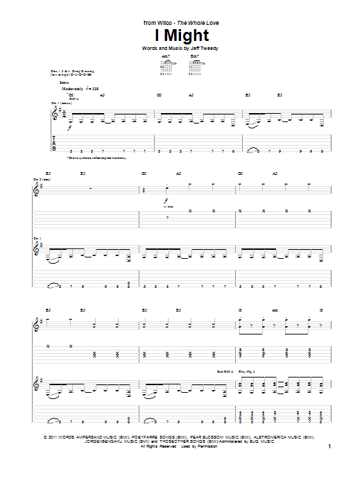 Tablature guitare I Might de Wilco - Tablature Guitare