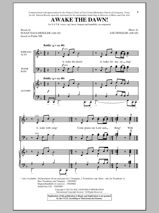Partition chorale Awake The Dawn! de Lee Dengler - SATB