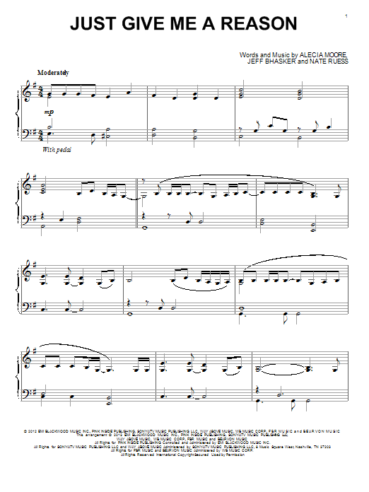 Just Give Me A Reason : Sheet Music Direct