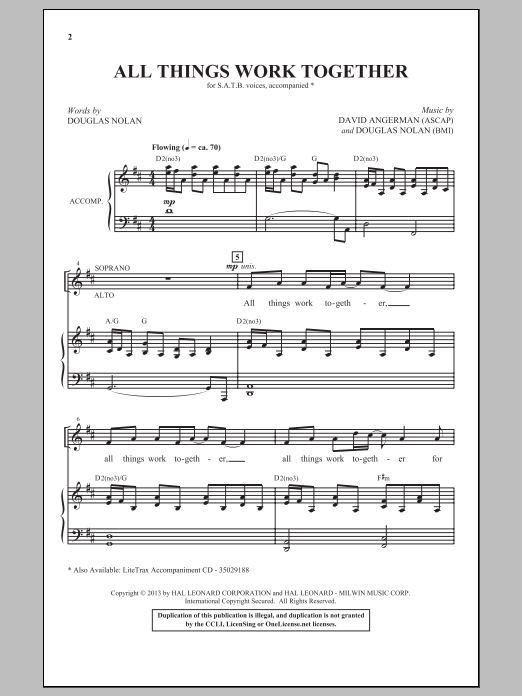 Partition chorale All Things Work Together de Douglas Nolan - SATB