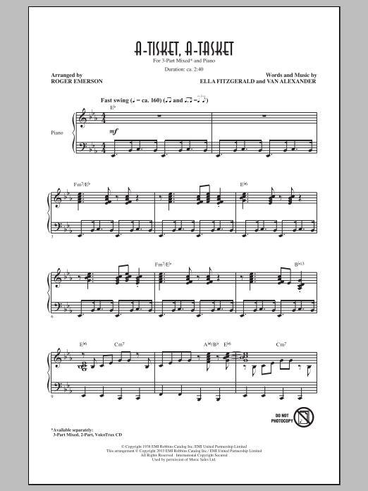 Partition chorale A-Tisket, A-Tasket de Ella Fitzgerald - 3 voix mixtes