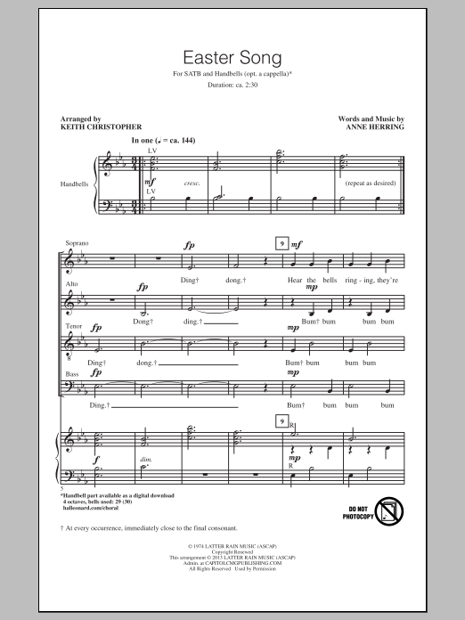 Partition chorale Easter Song de Anne Herring - SATB