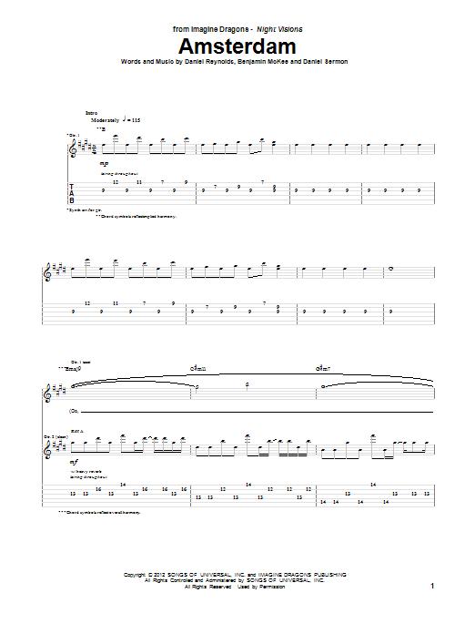 Tablature guitare Amsterdam de Imagine Dragons - Tablature Guitare