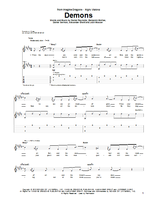 Tablature guitare Demons de Imagine Dragons - Tablature Guitare