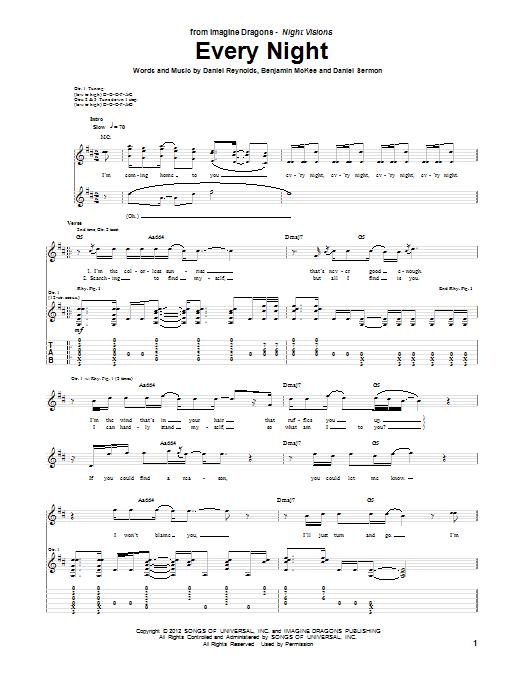 Tablature guitare Every Night de Imagine Dragons - Tablature Guitare