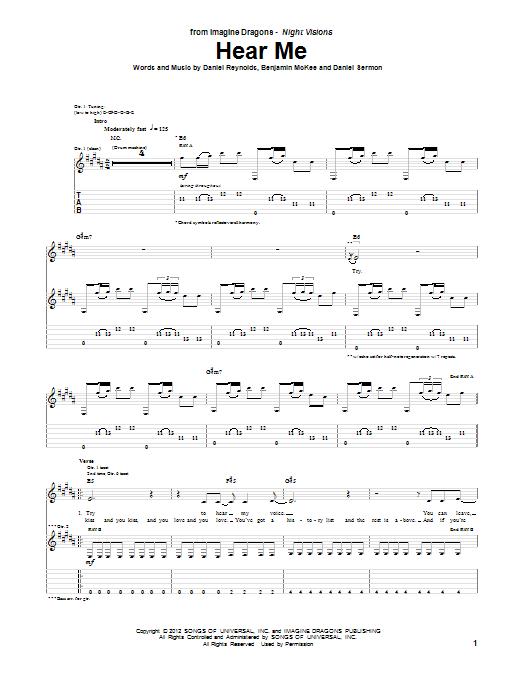 Imagine Dragons: Hear Me - Guitar Tab : Sheetmusicdirect.com