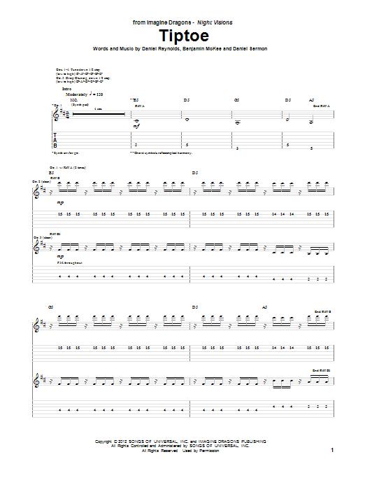 Tablature guitare Tiptoe de Imagine Dragons - Tablature Guitare