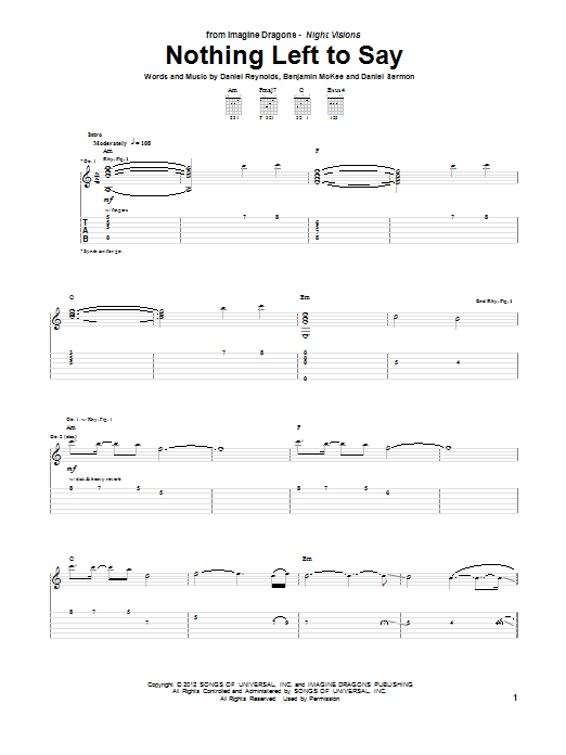 Tablature guitare Nothing Left To Say de Imagine Dragons - Tablature Guitare