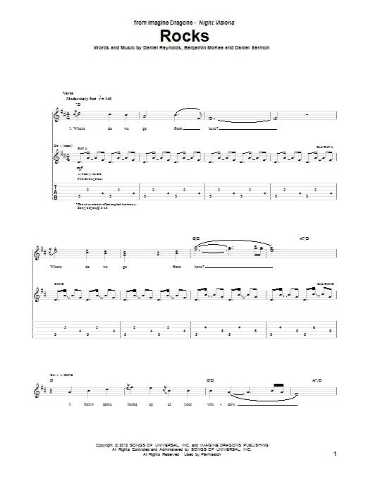 Tablature guitare Rocks de Imagine Dragons - Tablature Guitare
