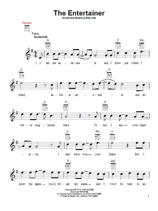 Tablature guitare The Entertainer de Billy Joel - Ukulele