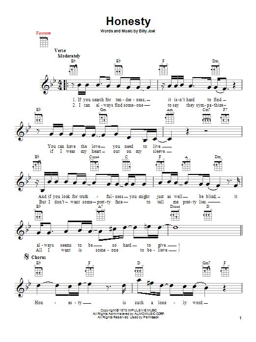 Tablature guitare Honesty de Billy Joel - Ukulele