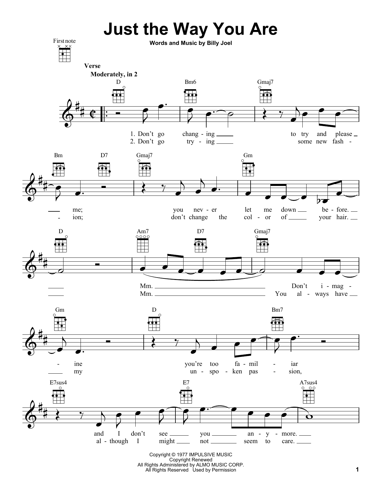 Tablature guitare Just The Way You Are de Billy Joel - Ukulele