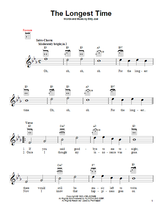 Tablature guitare The Longest Time de Billy Joel - Ukulele