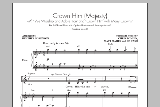 Partition chorale Crown Him With Many Crowns de Chris Tomlin - SATB
