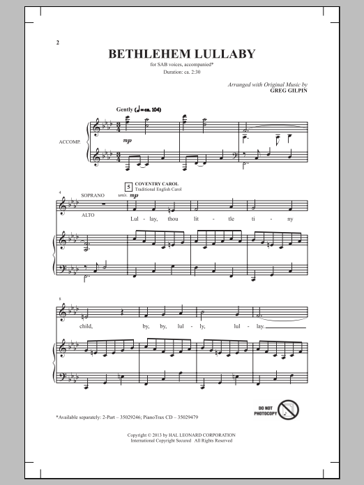 Bethlehem Lullaby sheet music for choir and piano (SAB) by Greg Gilpin