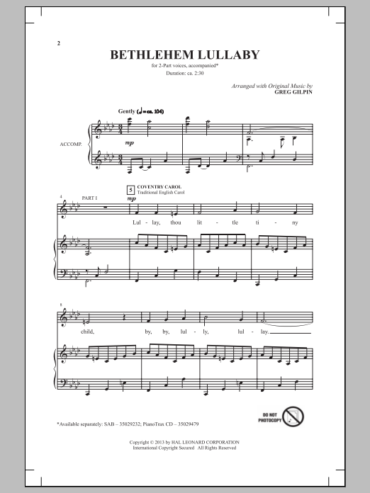 Bethlehem Lullaby sheet music for choir and piano (duets) by Greg Gilpin