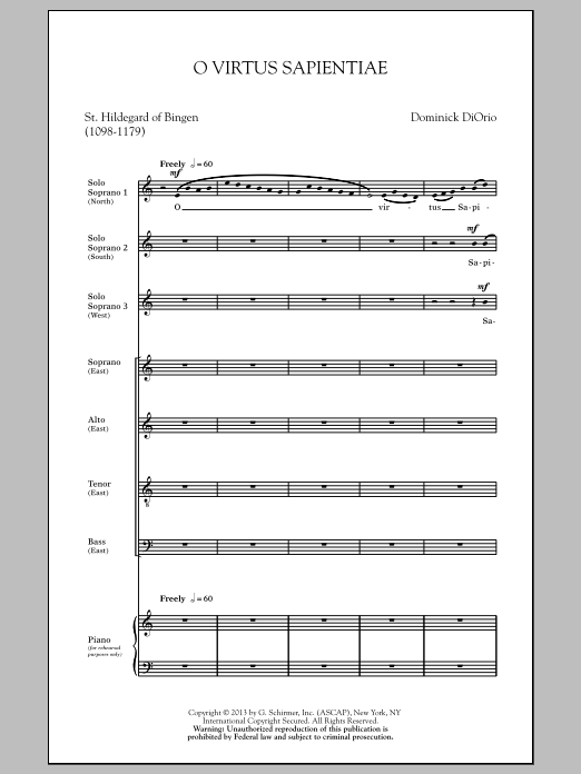 Partition chorale O Virtus Sapientiae de Dominick Diorio - SATB