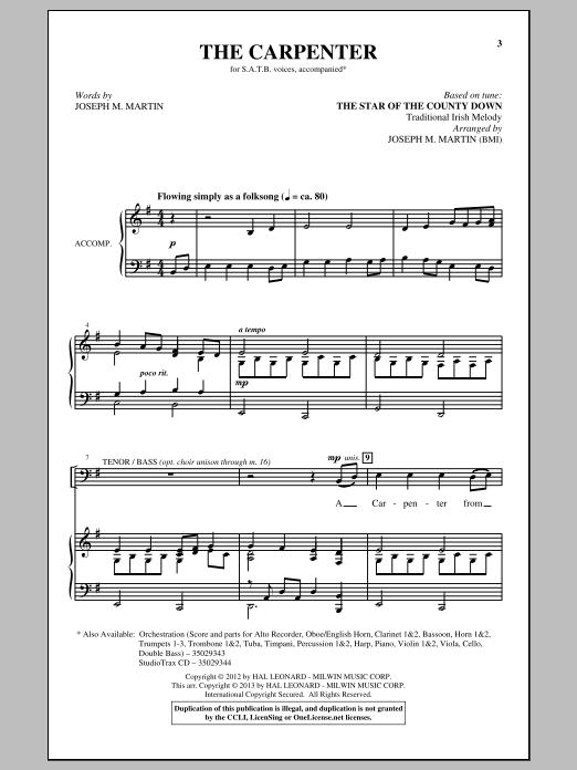Partition chorale The Carpenter de Joseph M. Martin - SATB