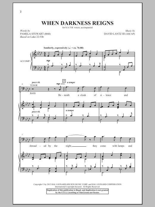 Partition chorale When Darkness Reigns de David Lantz III - SATB