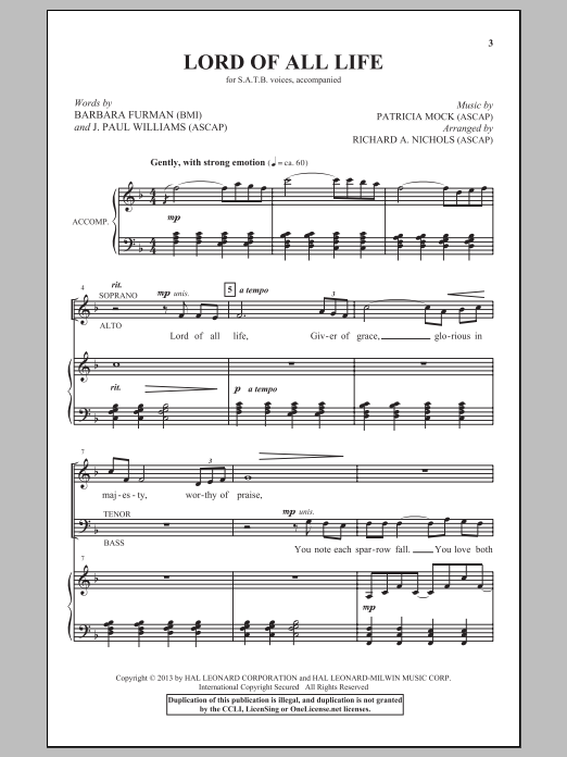 Partition chorale Lord Of All Life de Richard A. Nichols - SATB