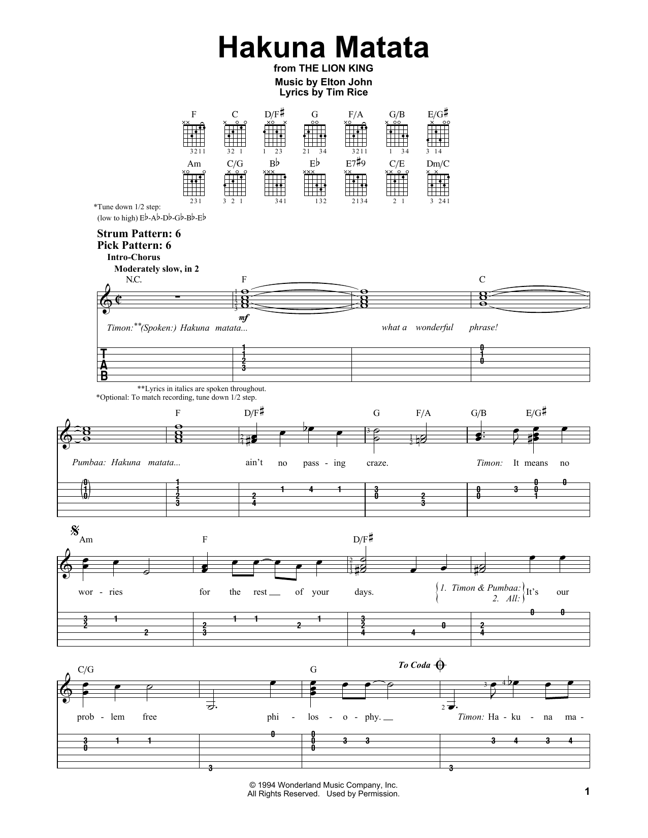 Tablature guitare Hakuna Matata de Elton John - Tablature guitare facile